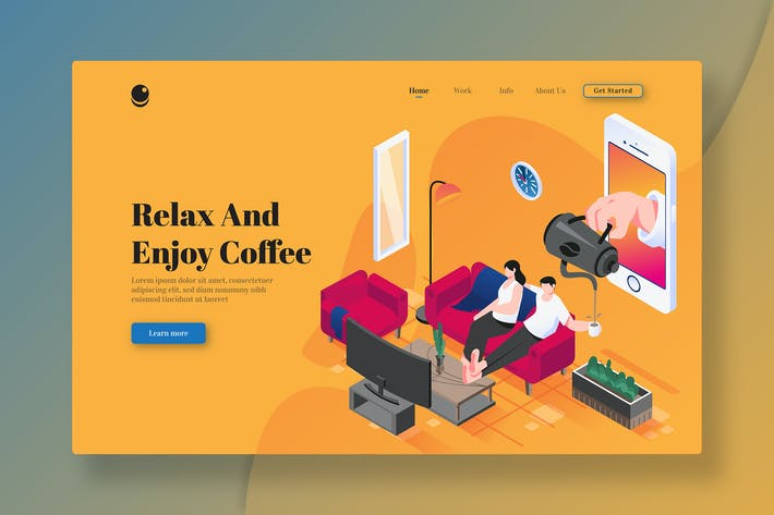 Relax & Enjoy Coffee - Isometric Landing Page