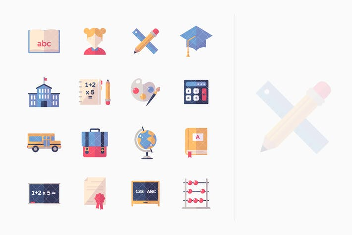 Thumbnail for Education Icons Set 1- Flat Series