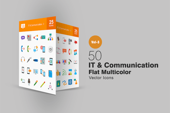 Thumbnail for 50 IT & Communication Flat Multicolor Icons