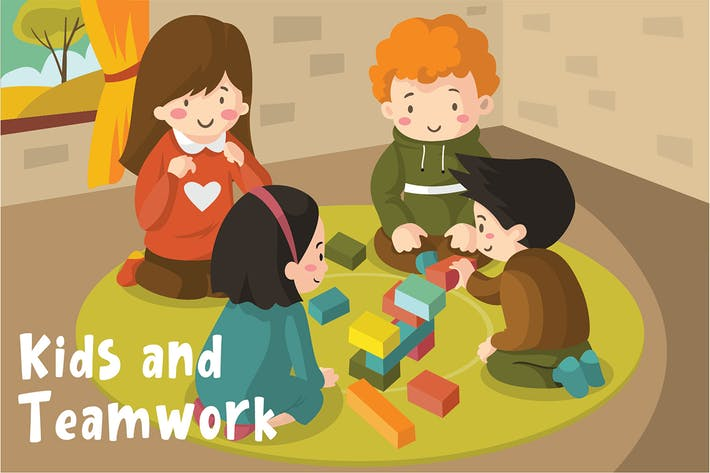 Thumbnail for Kids Teamwork - Vector Illustration