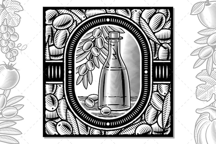 Thumbnail for Olive Oil Harvest Design Black And White