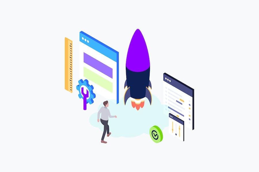 Web Development Isometric Illustration