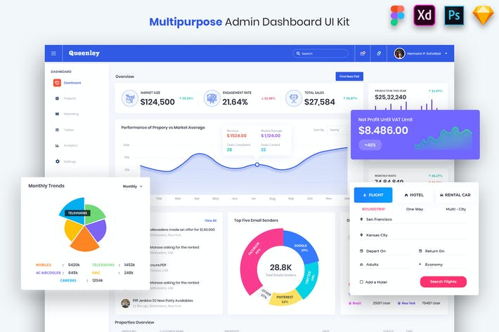 Thumbnail for Queenley- Multipurpose Admin Dashboard UI Kit