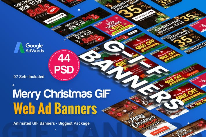 Thumbnail for Animated GIF Merry Christmas Banners Ad - 44 PSD
