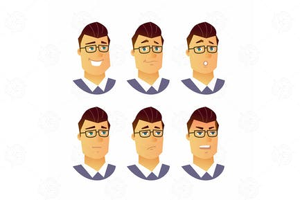 Male Facial Expressions - vector illustration