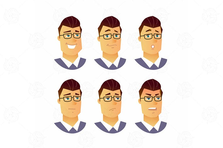 Thumbnail for Male Facial Expressions - vector illustration