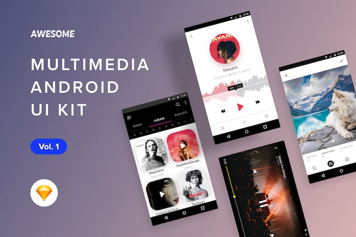 Cover Image For Android UI Kit - Multimedia Vol. 1 (Sketch)
