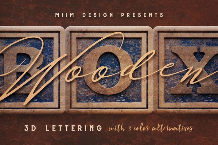 Thumbnail for Vintage Wooden Box - 3D Lettering