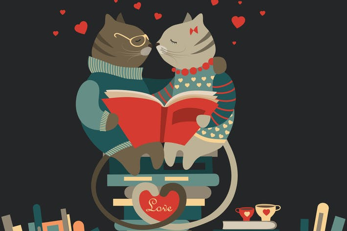 Thumbnail for Cute cats in love reading a book
