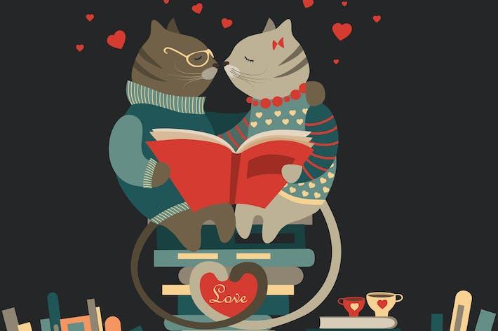 Gatos lindos enamorados leer un Libro