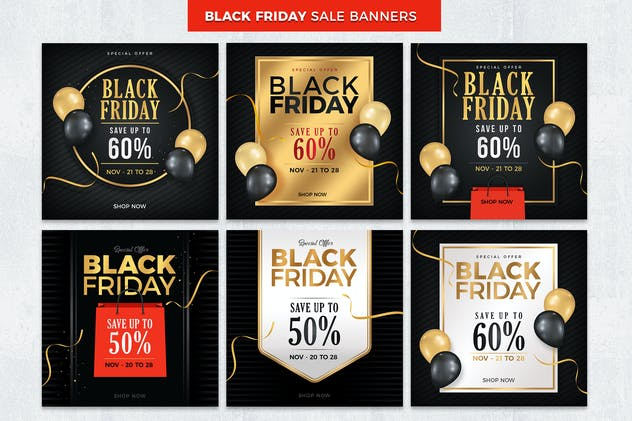 Black Friday Sale Banners and Social Media Templat