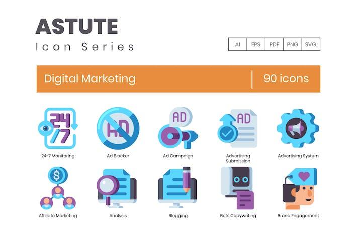 Thumbnail for 90 Digital Marketing Flat Icons