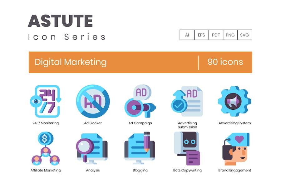 90 Flache Icons für digitales Marketing