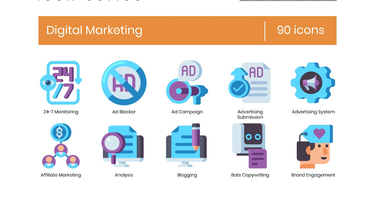 Download 90 Digital Marketing Flat Icons by Krafted