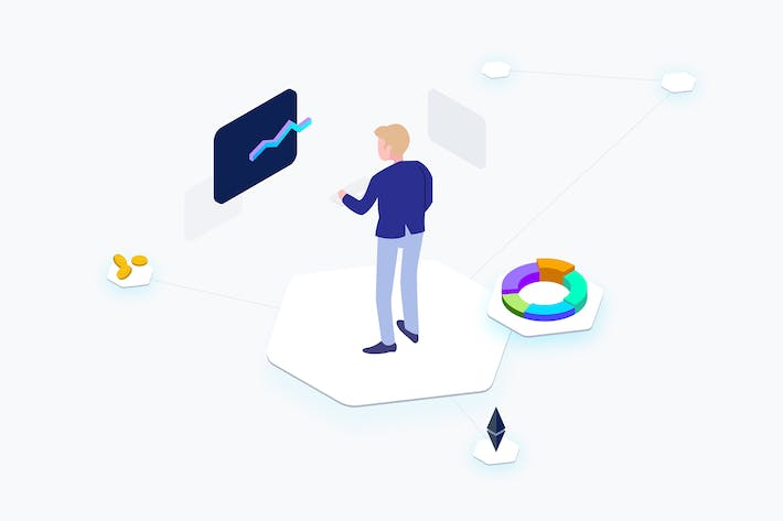 Thumbnail for Business Cryptocurrency Isometric Illustration