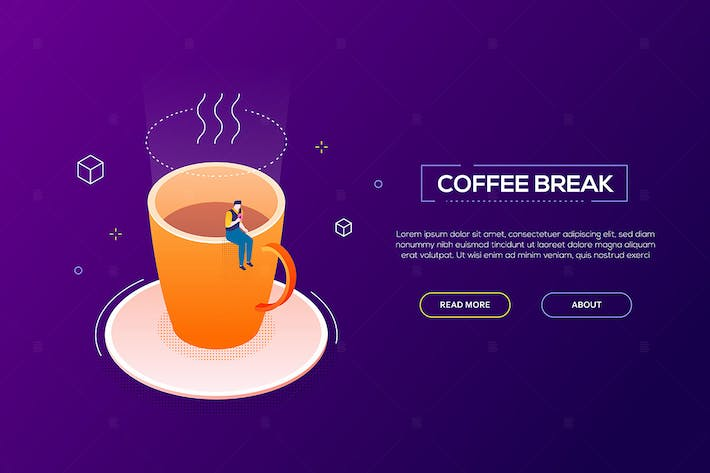 Thumbnail for Coffee break - modern isometric vector web banner