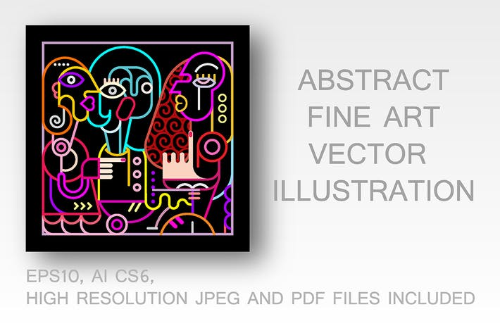 Thumbnail for Abstract Art Neon Colors vector illustration