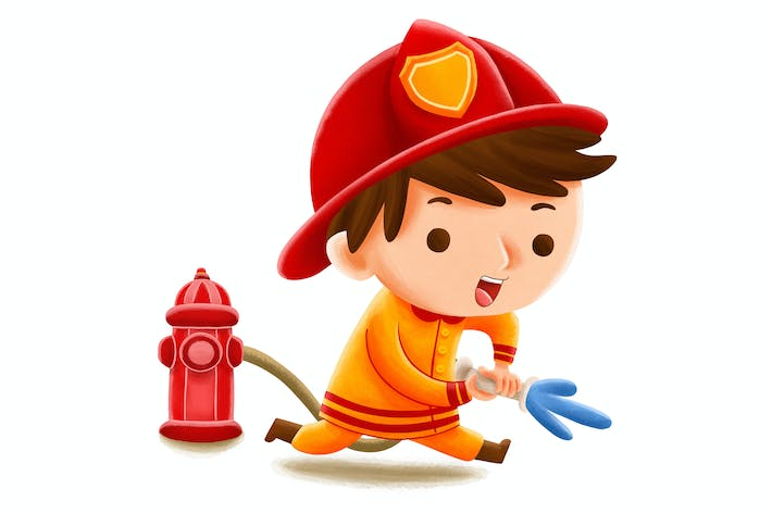 Thumbnail for Fire Fighter Profession — Kids Illustration