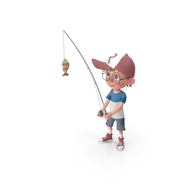 Cartoon Boy Harry Fishing