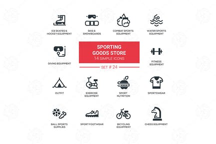 Sporting goods store - simple icons, pictograms