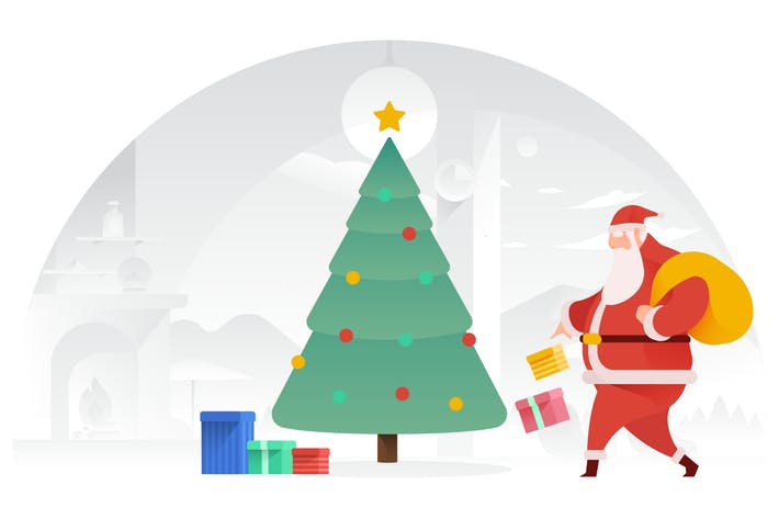 Thumbnail for Santa Claus Delivering Toys Vector Illustration