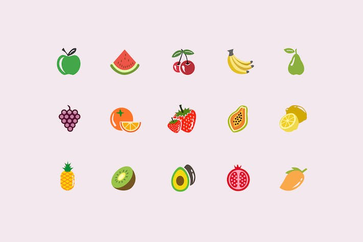 Thumbnail for 15 Fruit Icons and Graphics