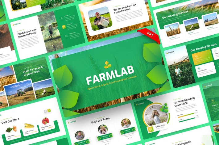 Farmlab - Сельское хозяйство и органические пищевые PowerPoint