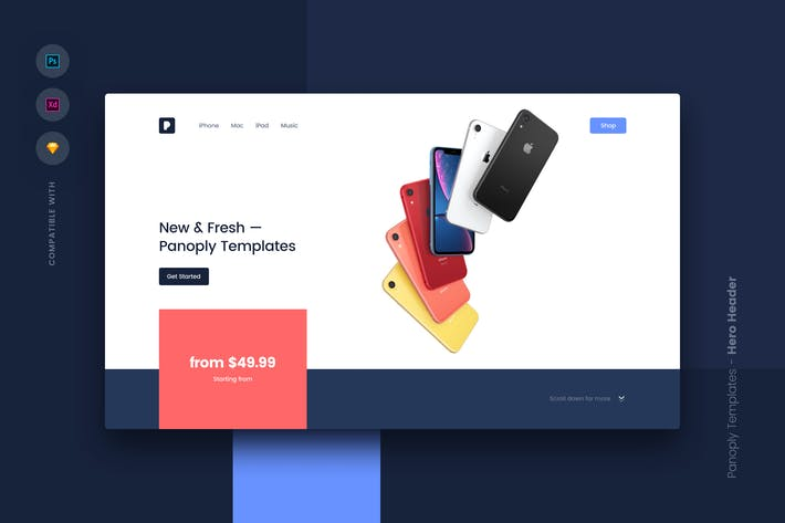 Thumbnail for Web Templates UI Kit - Hero Header 3