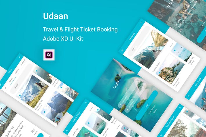 Thumbnail for Udaan - Travel & Flight Booking App for Adobe XD
