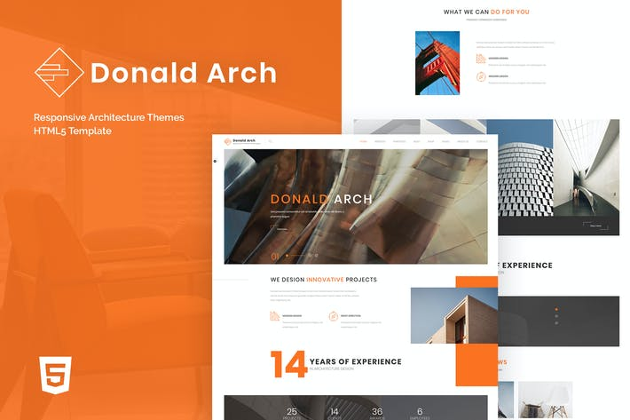 Thumbnail for Donald Arch - Responsive Architecture HTML5 Templa