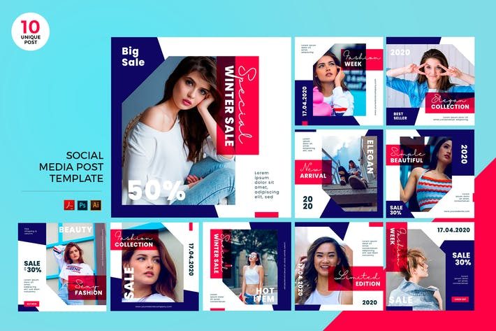Thumbnail for Trendy Fashion Social Media Kit PSD & AI Modèle