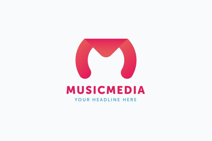 Thumbnail for Music Media Logo M Letter Template