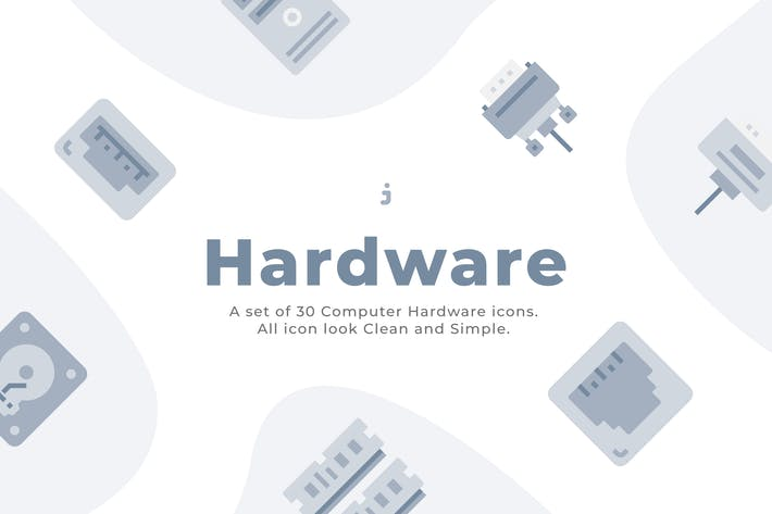 Thumbnail for 30 Computer Hardware Icons - Flat