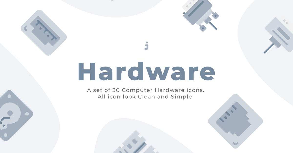 Download 30 Computer Hardware Icons - Flat by Justicon