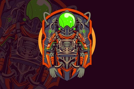 Astronaut Mecha Scifi Illustration