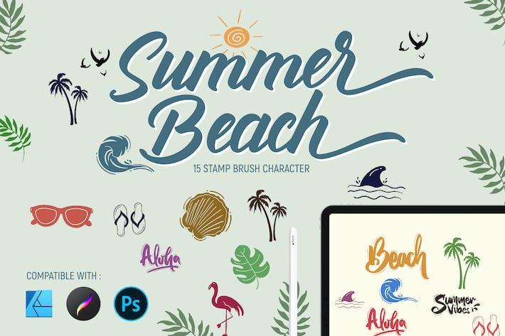 Летний пляж | кисти штампов