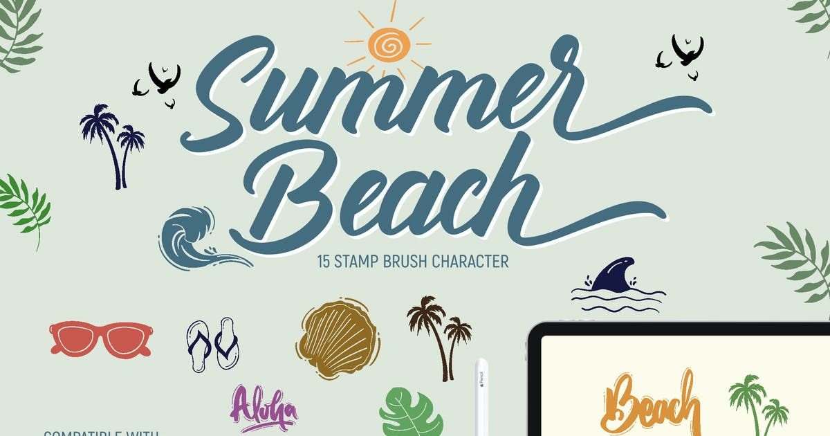 Download Summer Beach   Stamp brushes by LetterStockStd