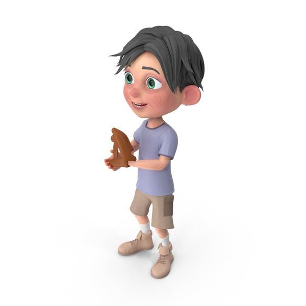 Cartoon Boy Jack Playing Baseball