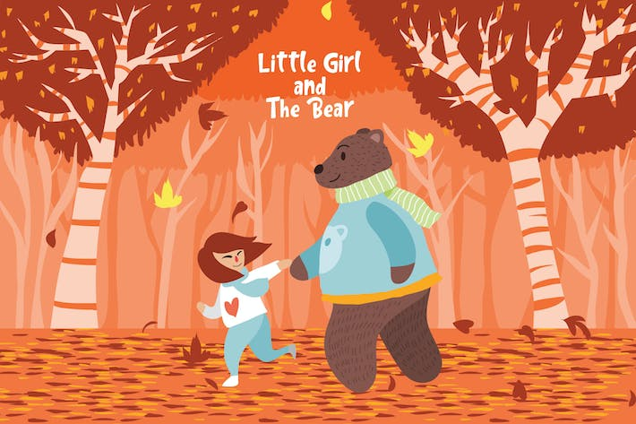 Thumbnail for Little Girl and The Bear - Vector Illustration