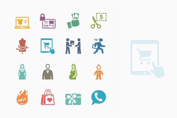 Thumbnail for E-commerce Icons Set 1 - Colored Series