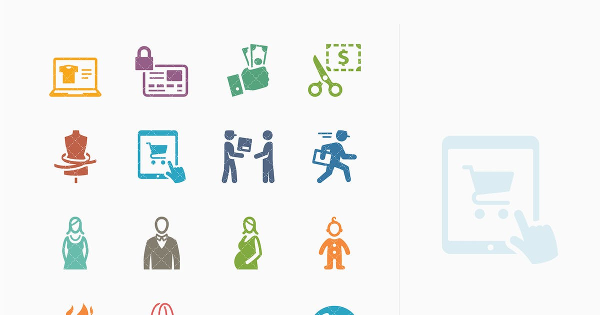 Download E-commerce Icons Set 1 - Colored Series by introwiz1