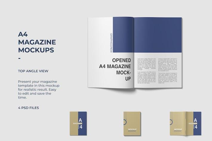 Thumbnail for Vista de ángulo superior de Mockups de revistas A4