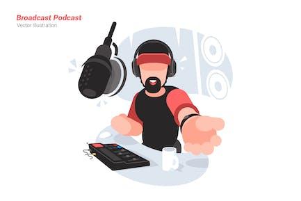 Broadcast Podcast - Vector Illustration