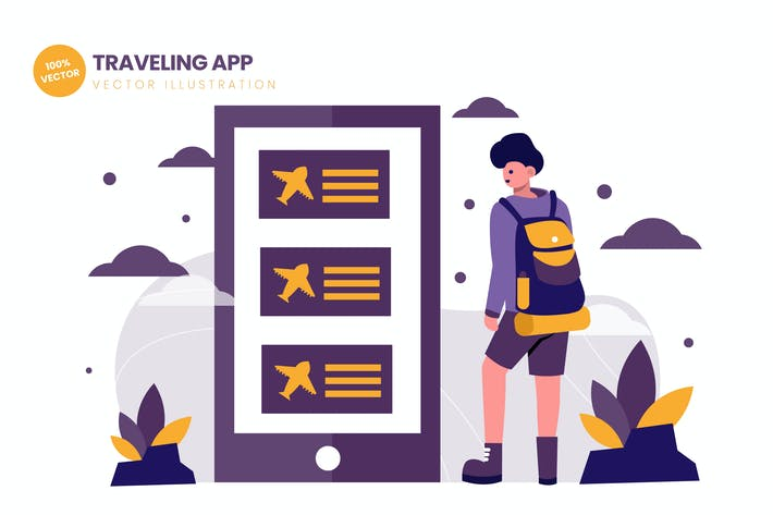 Thumbnail for Traveling App Flat Vector Illustration