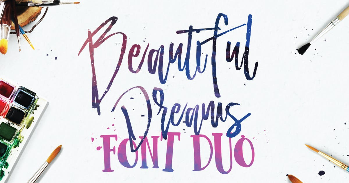 Download Beautiful Dreams - Font Duo Brush Font by dirtylinestudio