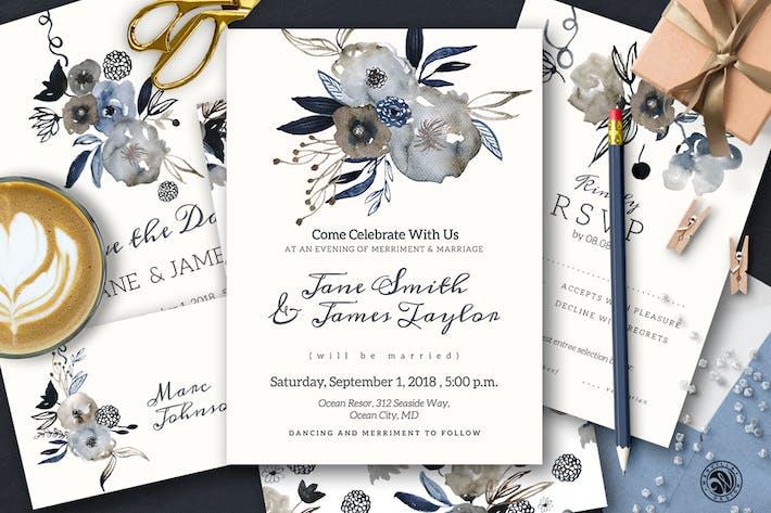 Thumbnail for Grey Wedding Invitation Set