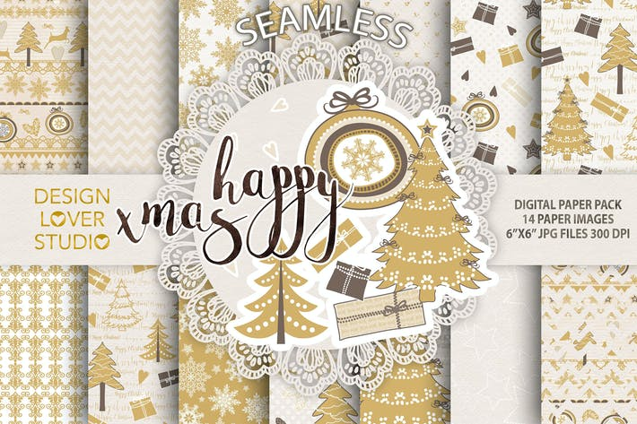 Thumbnail for Gold christmas digital paper pack