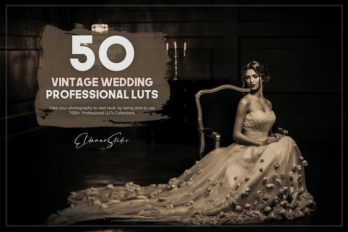 Thumbnail for 50 Vintage Wedding LUTs Pack
