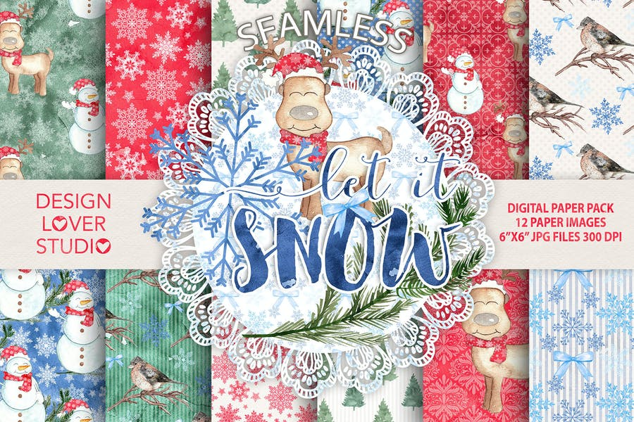 """Watercolor """"Let it snow"""" digital papers - product preview 0"""
