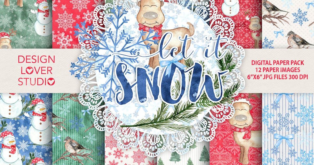 "Download Watercolor ""Let it snow"" digital papers by designloverstudio"